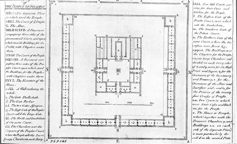 Isaac Newton's diagram of part of the Temple of Solomon, taken from Plate 1 of The Chronology of Ancient Kingdoms.